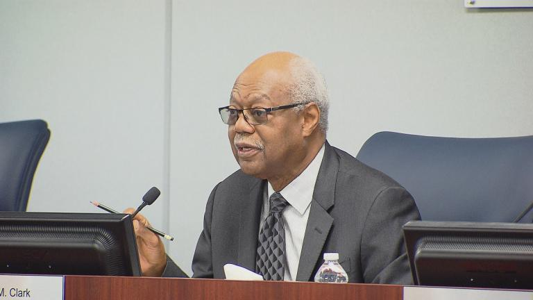 Board of Education President Frank Clark and CPS officials held a pair of public hearings Monday to discuss the district's revised budget for the 2017 fiscal year. (Chicago Tonight)