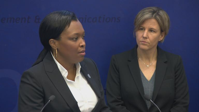 CPS CEO Janice Jackson, left, and Chicago Department of Public Health Deputy Commissioner Jennifer Layden discuss the school district's COVID-19 response at a press conference Tuesday, March 10, 2020. (WTTW News)
