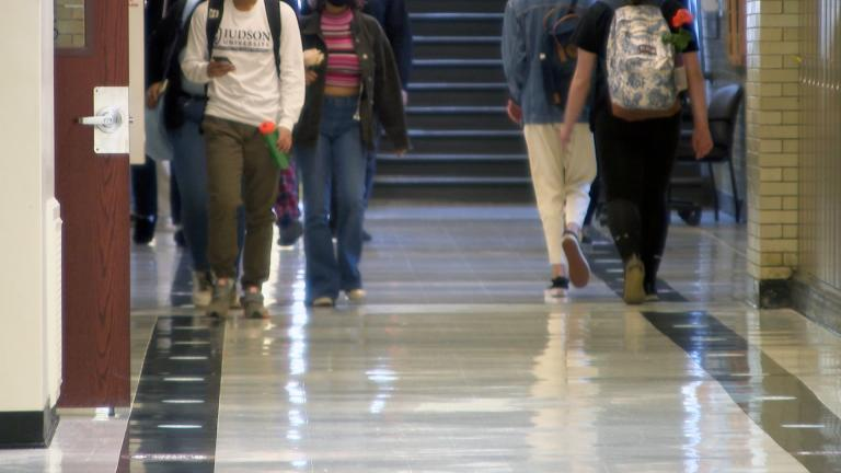 Students at Chicago Public Schools walk along a hallway in this file photo. (WTTW News)