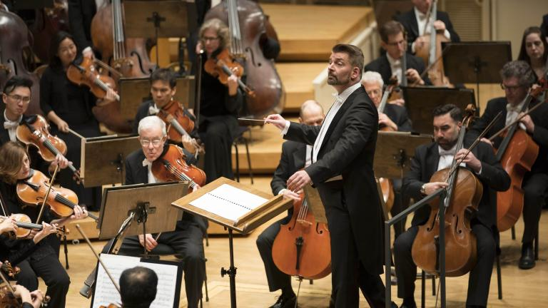 "Guest conductor Matthias Pintscher leads the CSO in Ravel's orchestration of Debussy's ""Saraband and Danse."" (Photo © Todd Rosenberg)"