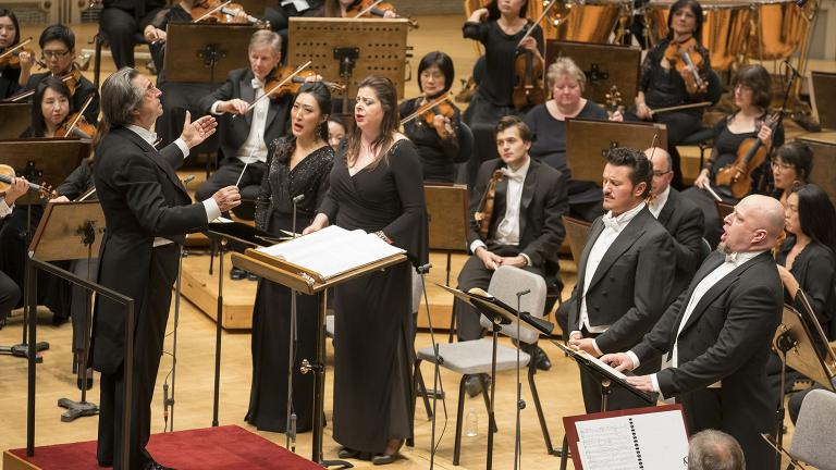 Soprano Vittoria Yeo, mezzo-soprano Daniela Barcellona, tenor Piotr Beczala and bass Dmitry Belosselskiy are soloists in Verdi's Requiem with the Chicago Symphony Orchestra and Chorus led by Zell Music Director Riccardo Muti. (© Todd Rosenberg)