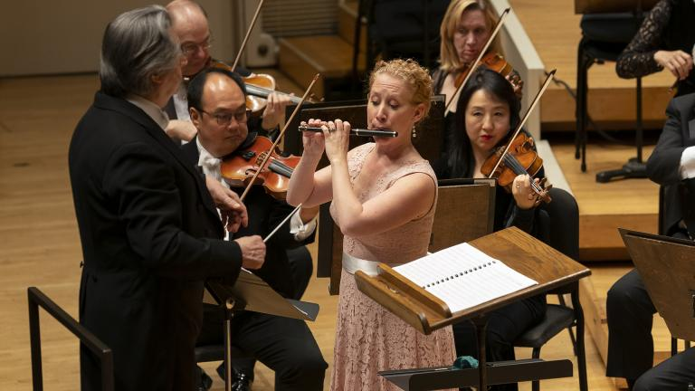 "CSO Piccolo Jennifer Gunn is the soloist in Ken Benshoof's ""Concerto in Three Movements"" with Music Director Riccardo Muti and the CSO. (© Todd Rosenberg)"