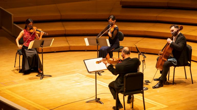 The CSO's Lincoln Quartet composed of violinists Qing and Lei Hou, Lawrence Neuman on the viola and cellist Kenneth Olsen perform in a virtual recital in August. (Clay Baker / Chicago Symphony Orchestra)