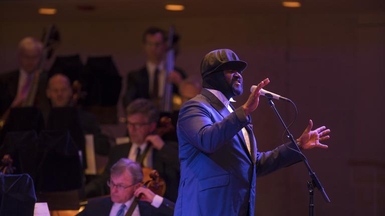 "Gregory Porter performs selections from his latest Blue Note album, ""Nat King Cole and Me,"" with the Chicago Symphony Orchestra on June 11, 2018. (Credit: Todd Rosenberg)"