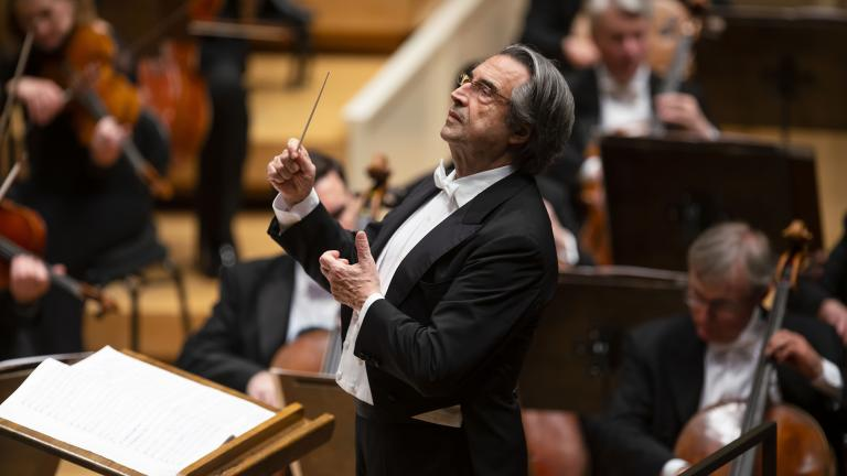 Zell Music Director Riccardo Muti on the podium during the CSO's May 9, 2019 program of works by Mozart and Stravinsky. (Photo credit: Todd Rosenberg)