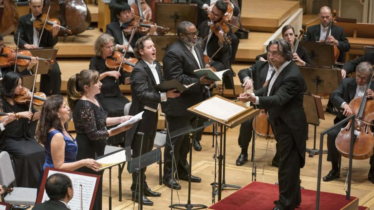 "Music Director Riccardo Muti leads the Chicago Symphony Orchestra and Chorus in Rossini's ""Stabat mater"" featuring soprano Krassimira Stoyanova, mezzo-soprano Ekaterina Gubanova, tenor Dmitry Korchak and bass-baritone Eric Owens. (© Todd Rosenberg)"