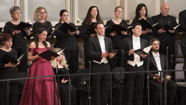 """From left: Soprano Amanda Forsythe and tenors Paul Appleby and Nicholas Phan are soloists in Schubert's """"Mass in E-flat Major"""" with the Chicago Symphony Orchestra and Chorus. (Credit: Todd Rosenberg)"""