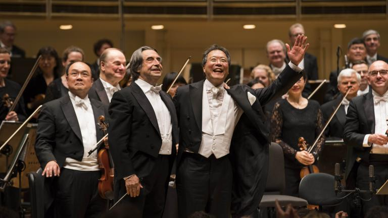 Yo-Yo Ma is soloist with Music Director Riccardo Muti and the CSO in Shostakovich's Cello Concerto No. 2. (Credit: Todd Rosenberg Photography)