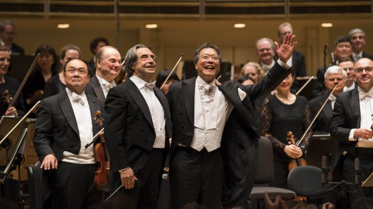 Yo-Yo Ma is soloist with Music Director Riccardo Muti and the CSO in Shostakovich's Cello Concerto No. 2. (Credit: Todd Rosenberg Photography)