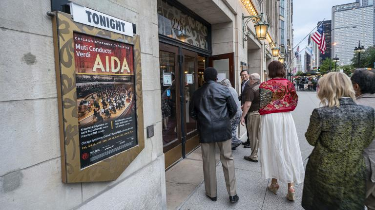 "Audience members enter Symphony Center on opening night of Verdi's ""Aida."" (Credit: Todd Rosenberg)"