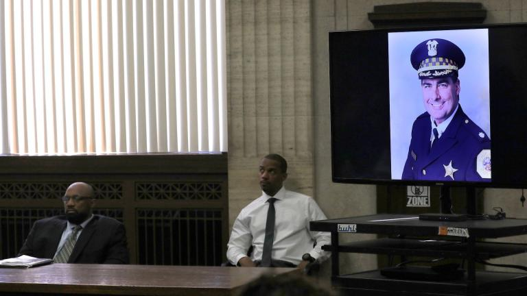 An image of Chicago Police Cmdr. Paul Bauer is shown during closing statements for Shomari Legghette at the Leighton Criminal Courthouse, Friday, March 13, 2020. Legghette was charged with first degree murder in the fatal shooting of Bauer. (Antonio Perez/Chicago Tribune/Pool)