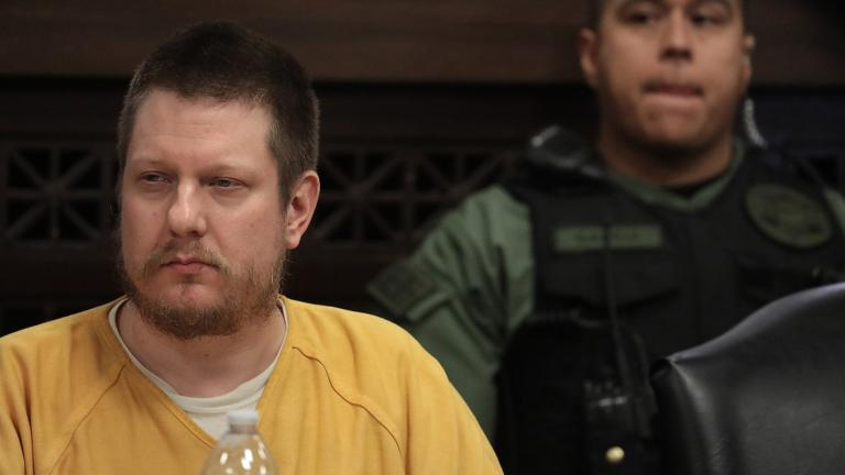 Former Chicago police Officer Jason Van Dyke listens in at his sentencing hearing on Friday, Jan. 18, 2019. (Antonio Perez / Chicago Tribune / Pool)