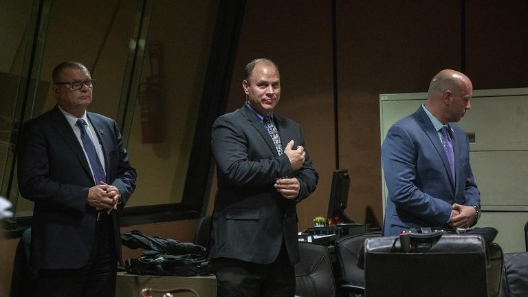 From left: Former Chicago Detective David March, officer Thomas Gaffney and former officer Joseph Walsh attend a pretrial hearing Tuesday, Oct. 30, 2018. (Zbigniew Bzdak / Chicago Tribune / Pool)