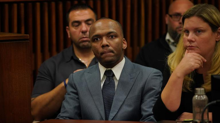Dwright Boone-Doty is found guilty by jury of first-degree murder for the murder of 9-year-old Tyshawn Lee at the Leighton Criminal Court Building in Chicago on Thursday, Oct. 3, 2019. (E. Jason Wambsgans / Chicago Tribune / pool)