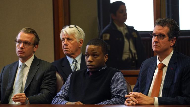 Corey Morgan is found guilty of first-degree murder for the killing of 9-year-old Tyshawn Lee during his trial at the Leighton Criminal Court Building in Chicago on Friday, Oct. 4, 2019. (E. Jason Wambsgans / Chicago Tribune / pool)