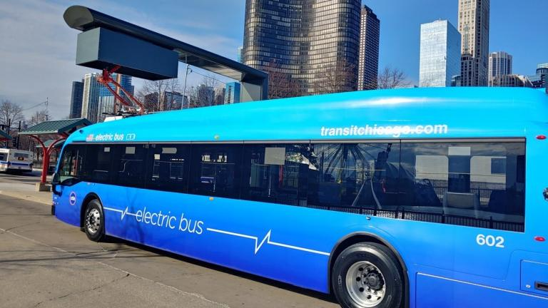 CTA electric bus, at a charging station. (Courtesy of Chicago Transit Authority)