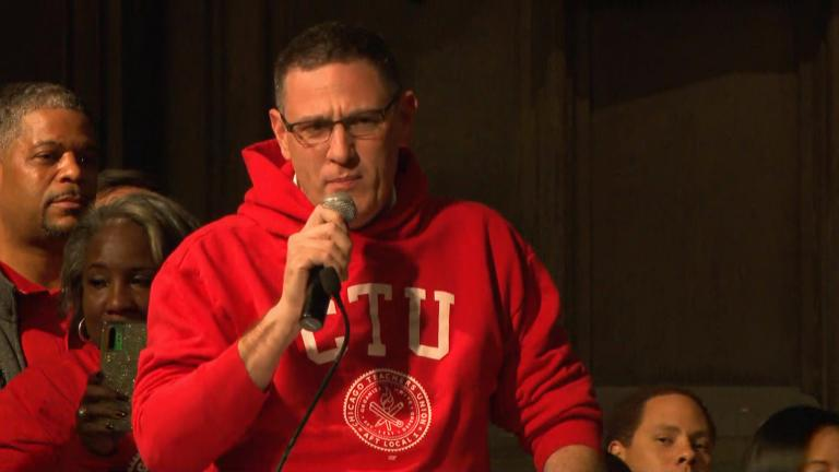 Chicago Teachers Union President Jesse Sharkey speaks during a rally Monday.