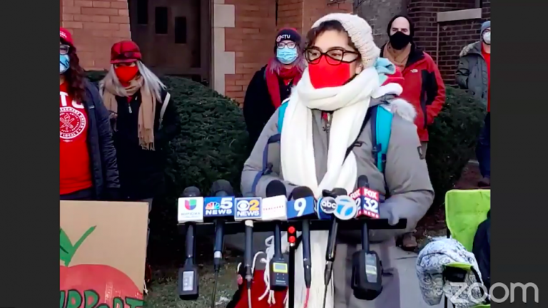 Teacher Diane Castro speaks outside the home of Board of Education President Miguel del Valle on Jan. 13, 2021. (Chicago Teachers Union / Facebook)