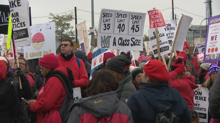 Chicago Teachers Union members hold a rally at the Lincoln Yards development on day nine of the strike, Tuesday, Oct. 29, 2019. (WTTW News)