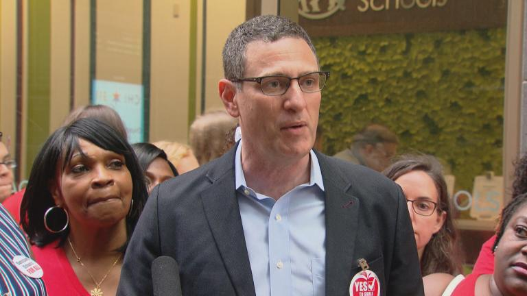 Chicago Teachers Union President Jesse Sharkey speaks about contract negotiations Tuesday, Aug. 20. (WTTW News)