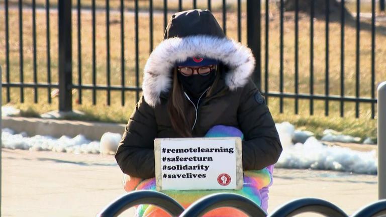 A Chicago teacher works outdoors on Wednesday, Feb. 3, 2021. (WTTW News)