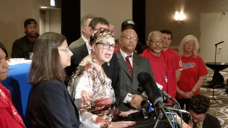 CTU President Karen Lewis said she's confident the union's 28,000 members will approve a tentative labor agreement with Chicago Public Schools next week. (Matt Masterson / Chicago Tonight)
