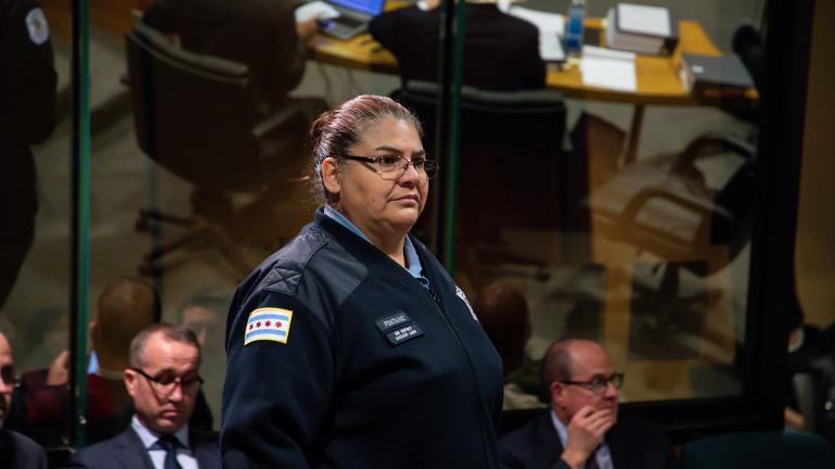 Chicago police Officer Dora Fontaine takes the witness stand on Wednesday, Nov. 28, 2018. (Zbigniew Bzdak / Chicago Tribune / Pool)