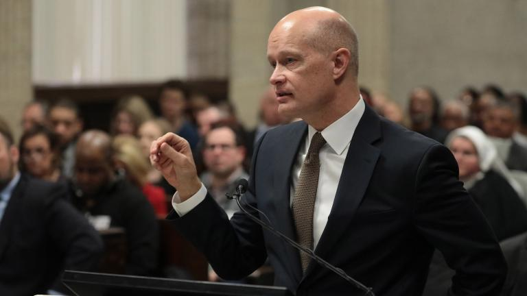Prosecutor Joe McMahon at the sentencing hearing of former Chicago police Officer Jason Van Dyke at the Leighton Criminal Court Building on Friday, Jan. 18, 2019 in Chicago. (Antonio Perez / Chicago Tribune / Pool)