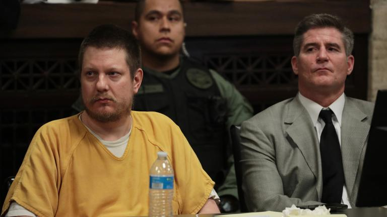 Former Chicago police Officer Jason Van Dyke and his attorney Daniel Herbert, right, listen as the judge describes how he'll be sentenced on Friday, Jan. 18, 2019. (Antonio Perez / Chicago Tribune / Pool)