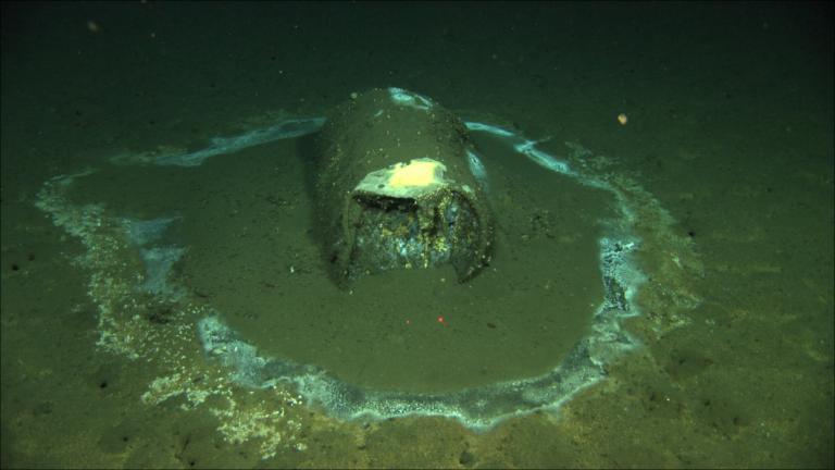 In this 2011 image provided by the University of California Santa Barbara, a barrel sits on the seafloor near the coast of Catalina Island, Calif. (David Valentine / UC Santa Barbara / RV Jason via AP)