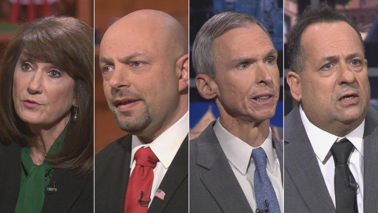 "Democratic candidates for Illinois' 3rd Congressional District, from left: Marie Newman, Rush Darwish, incumbent Dan Lipinski and Charles Hughes appear on a ""Chicago Tonight"" candidate forum. (WTTW News)"