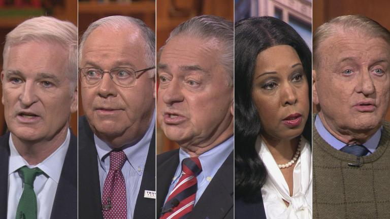 "Republican candidates for Senate, from left: Mark Curran, Tom Tarter, Casey Chlebek, Peggy Hubbard and Robert Marshall appear on a ""Chicago Tonight"" candidate forum. (WTTW News)"