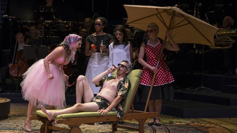 """From left: Cecilia Iole, Aleah Vassell, Jeff Parker, Noelle Harb and Brittany Marie Pirozzoli in """"Candide."""" (Photo by Brynn Yeager)"""