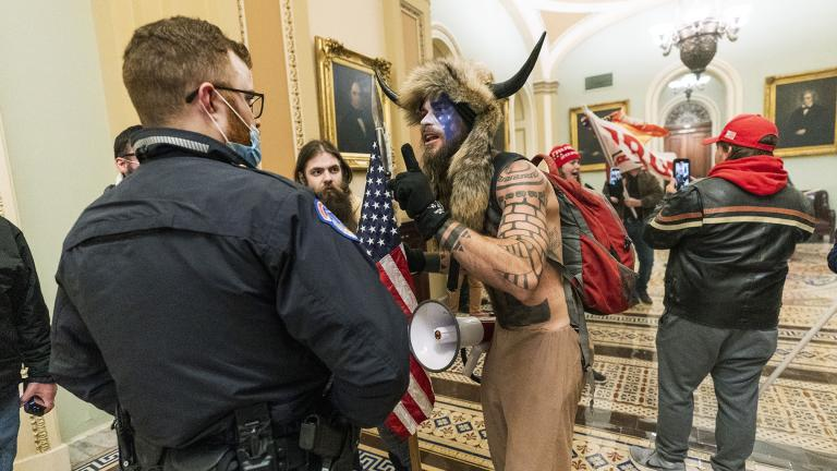 In this Jan. 6, 2021, file photo supporters of President Donald Trump are confronted by U.S. Capitol Police officers outside the Senate Chamber inside the Capitol in Washington. (AP Photo / Manuel Balce Ceneta, File)