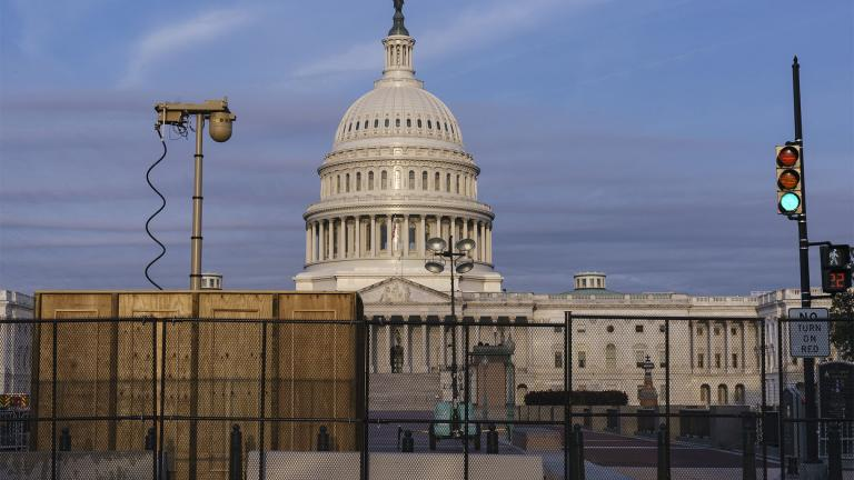 Security fencing and video surveillance equipment has been installed around the Capitol in Washington, Thursday, Sept. 16, 2021, ahead of a planned Sept. 18 rally by far-right supporters of former President Donald Trump who are demanding the release of rioters arrested in connection with the 6 January insurrection. (AP Photo / J. Scott Applewhite)