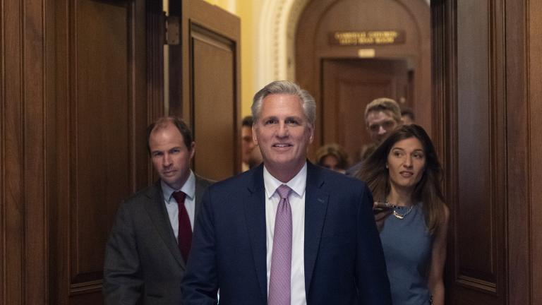 House Minority Leader Kevin McCarthy of Calif., center, leaves the floor after the House voted to create a select committee to investigate the Jan. 6 insurrection, at the Capitol in Washington, Wednesday, June 30, 2021. (AP Photo / Alex Brandon)