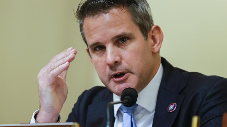 Rep. Adam Kinzinger, R-Ill., speaks during a House select committee hearing on the Jan. 6 attack on Capitol Hill in Washington, Tuesday, July 27, 2021. (Jim Bourg / Pool via AP)