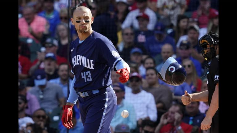 Chicago Cubs' Trayce Thompson throws his helmet after striking out swinging during the fourth inning in the first baseball game of a doubleheader against the St. Louis Cardinals in Chicago, Friday, Sept. 24, 2021. (AP Photo / Nam Y. Huh)