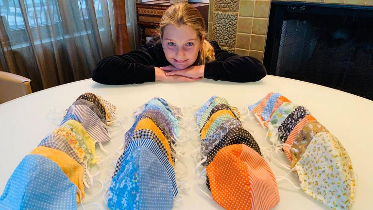 Alexia Brockmann, 12, has made hundreds of masks during the pandemic. (Photo: Kerry Fitzpatrick)