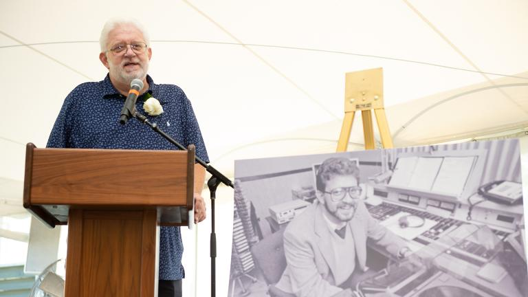 "Honors for Carl Grapentine and his work at WFMT at a special ""Goodbye to Carl"" event at Ravinia Festival on July 14, 2018. (Courtesy 98.7 WFMT)"