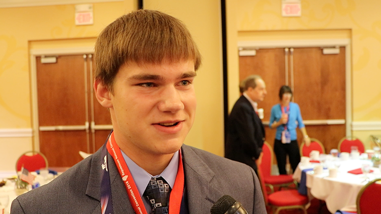 Carl Miller, 17, is the youngest delegate from Illinois at the 2016 Republican National Convention. (Evan Garcia / Chicago Tonight)
