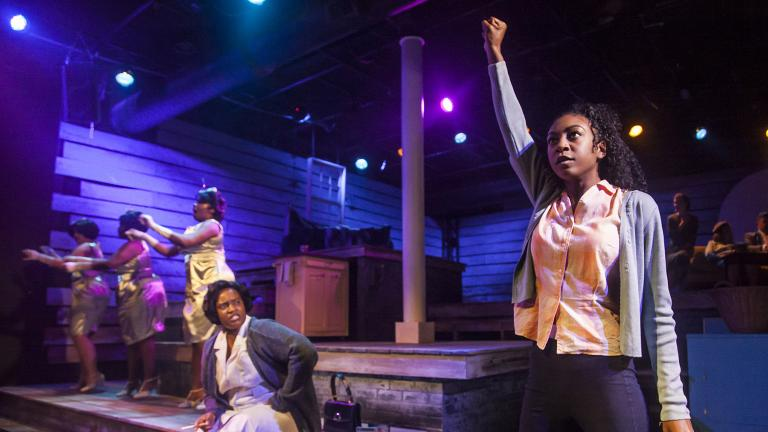 "From left: Rashada Dawan and Bre Jacobs with, in background, Emma Sipora Tyler, De'Jah Jervai and Roberta Burke in Firebrand Theatre and TimeLine Theatre Company's production of ""Caroline, Or Change."" (Photo by Marisa KM)"