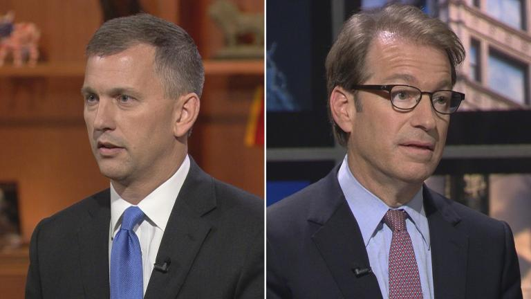 "Sean Casten, left, and U.S. Rep. Peter Roskam appear on ""Chicago Tonight"" on Oct. 22, 2018."