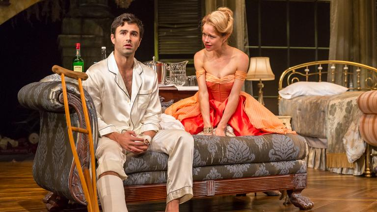 """Anthony Bowden and Genevieve Angelson in """"Cat on a Hot Tin Roof"""" (Credit: Brett Beiner Photograpahy)"""