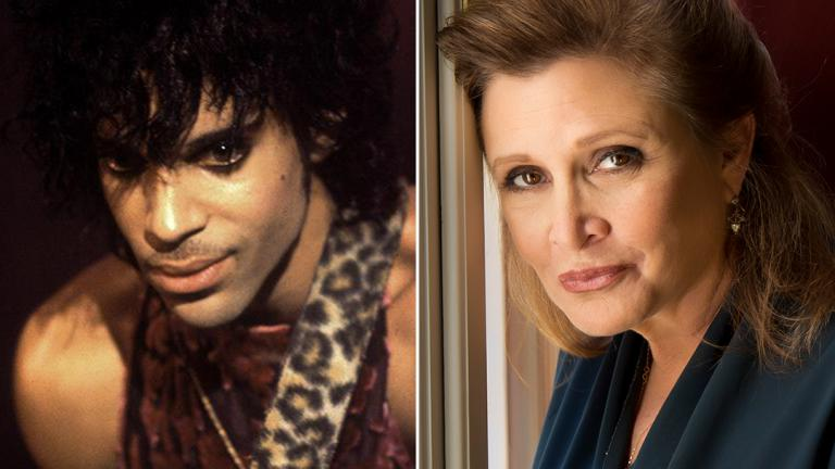 Among the celebrity deaths in 2016: Prince (courtesy of Paul Natkin) and Carrie Fisher (Riccardo Ghilardi / Wikimedia Commons).