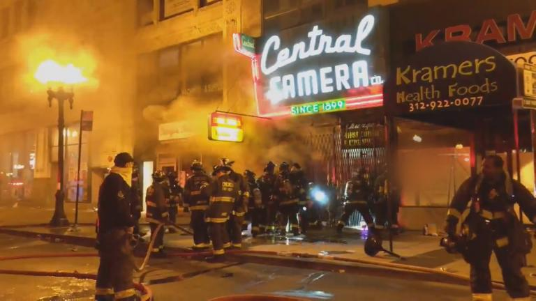 Firefighters battle the blaze inside Central Camera, a 121-year-old Chicago business, on May 30, 2020. (Courtesy Dominic Gwinn)