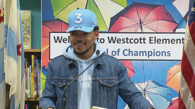 Chance the Rapper holds a press conference on March 6, 2017 at Westcott Elementary School to announce a $1 million donation to CPS. (Chicago Tonight)