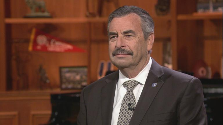 "Interim Chicago Police Superintendent Charlie Beck appears on ""Chicago Tonight"" on Wednesday, Jan. 15, 2020. (WTTW News)"