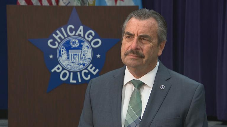 "Interim Chicago Police Superintendent Charlie Beck speaks with ""Chicago Tonight"" on Wednesday, April 8, 2020. (WTTW News)"