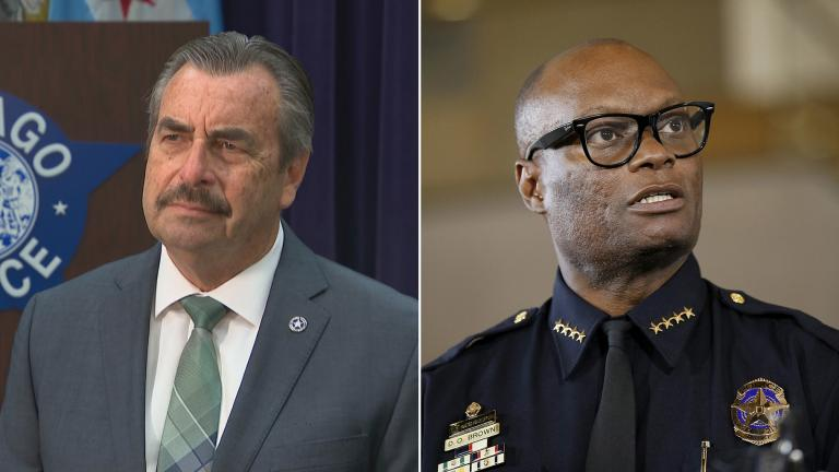 "Left: Interim Chicago Police Superintendent Charlie Beck speaks with ""Chicago Tonight"" on April 8, 2020. Right: Dallas Police Chief David Brown briefs the media on June 15, 2015 about a shooting at Dallas Police headquarters in Dallas. (AP Photo / Tony Gutierrez, File)"